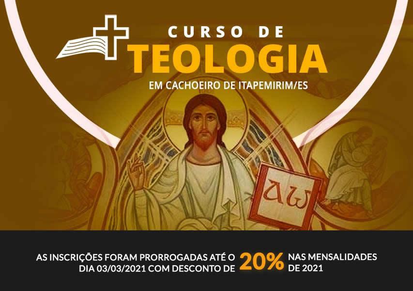 Curso de Teologia 2021. inscrições prorrogadas até o dia 03/03/2021 com desconto 20% nas mensalidades do ano 2021