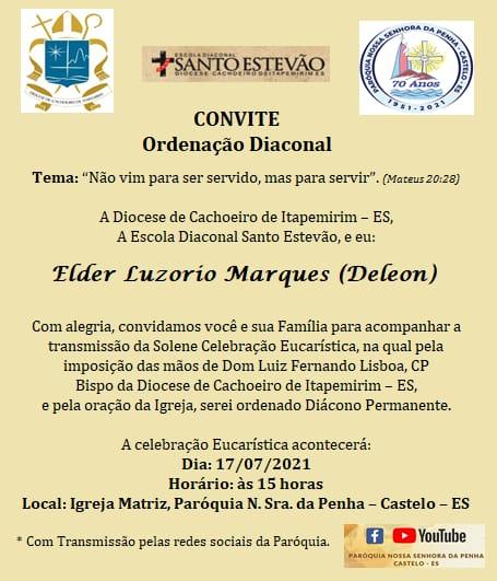 Ordenação Diaconal de Elder Luzorio Marques (Deleon)